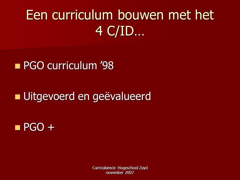 Curriculumcie Hogeschool Zuyd november 2007 Een curriculum bouwen met het 4 C/ID… PGO curriculum '98 PGO curriculum '98 Uitgevoerd en geëvalueerd Uitg