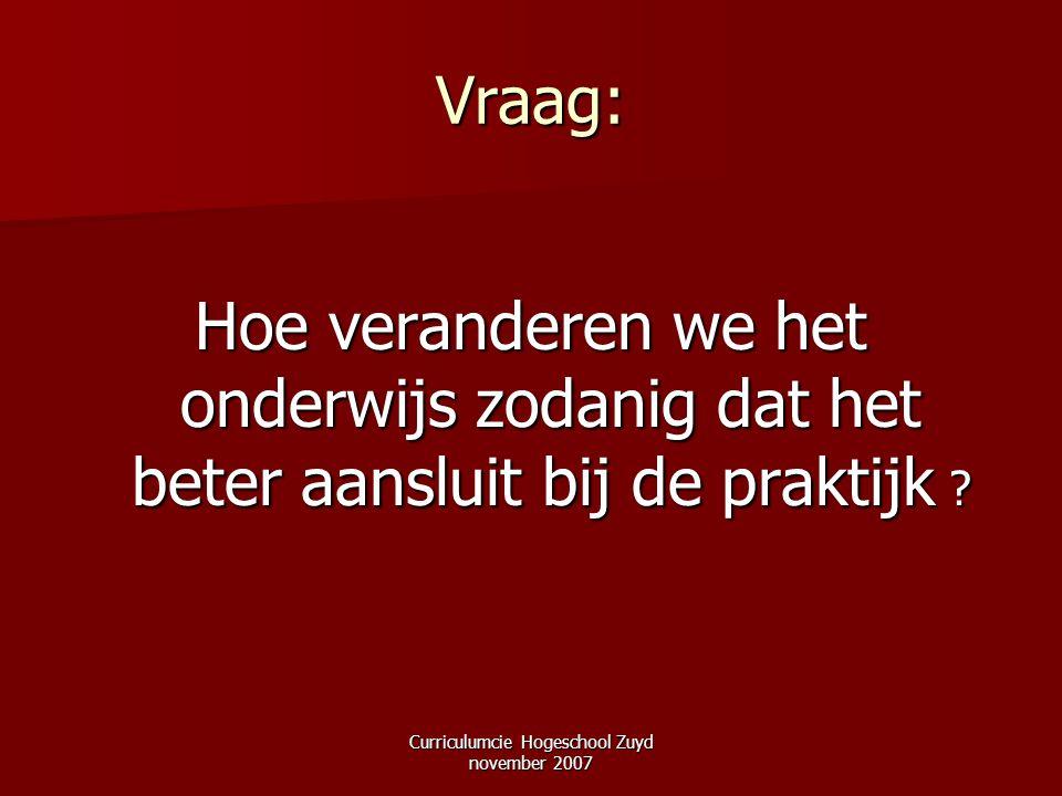 Curriculumcie Hogeschool Zuyd november 2007 Vraag: Hoe veranderen we het onderwijs zodanig dat het beter aansluit bij de praktijk ?