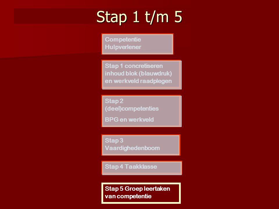 Stap 1 t/m 5 Competentie Hulpverlener Stap 1 concretiseren inhoud blok (blauwdruk) en werkveld raadplegen Stap 3 Vaardighedenboom Stap 4 Taakklasse St