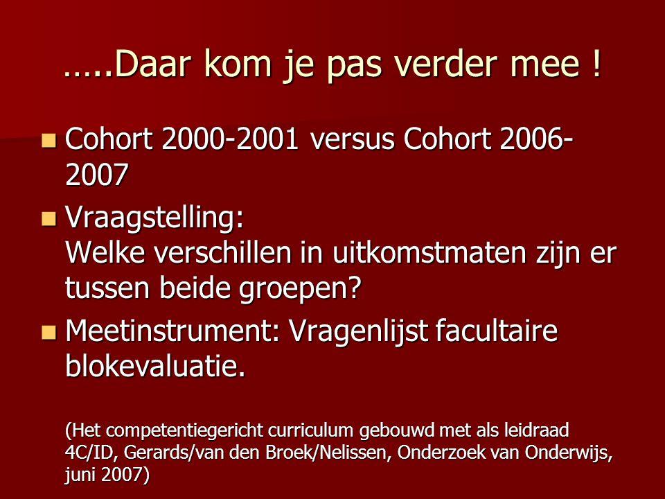 …..Daar kom je pas verder mee ! Cohort 2000-2001 versus Cohort 2006- 2007 Cohort 2000-2001 versus Cohort 2006- 2007 Vraagstelling: Welke verschillen i