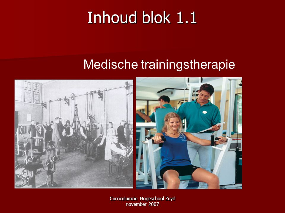 Curriculumcie Hogeschool Zuyd november 2007 Inhoud blok 1.1 Medische trainingstherapie