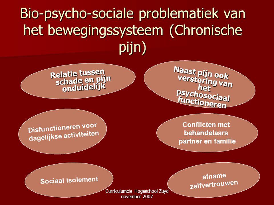 Curriculumcie Hogeschool Zuyd november 2007 Bio-psycho-sociale problematiek van het bewegingssysteem (Chronische pijn) Conflicten met behandelaars par