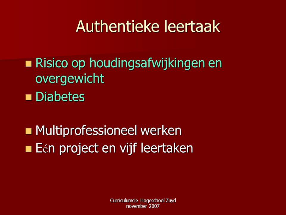 Curriculumcie Hogeschool Zuyd november 2007 Authentieke leertaak Risico op houdingsafwijkingen en overgewicht Risico op houdingsafwijkingen en overgew