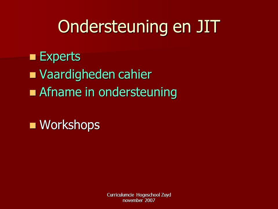 Curriculumcie Hogeschool Zuyd november 2007 Ondersteuning en JIT Experts Experts Vaardigheden cahier Vaardigheden cahier Afname in ondersteuning Afnam