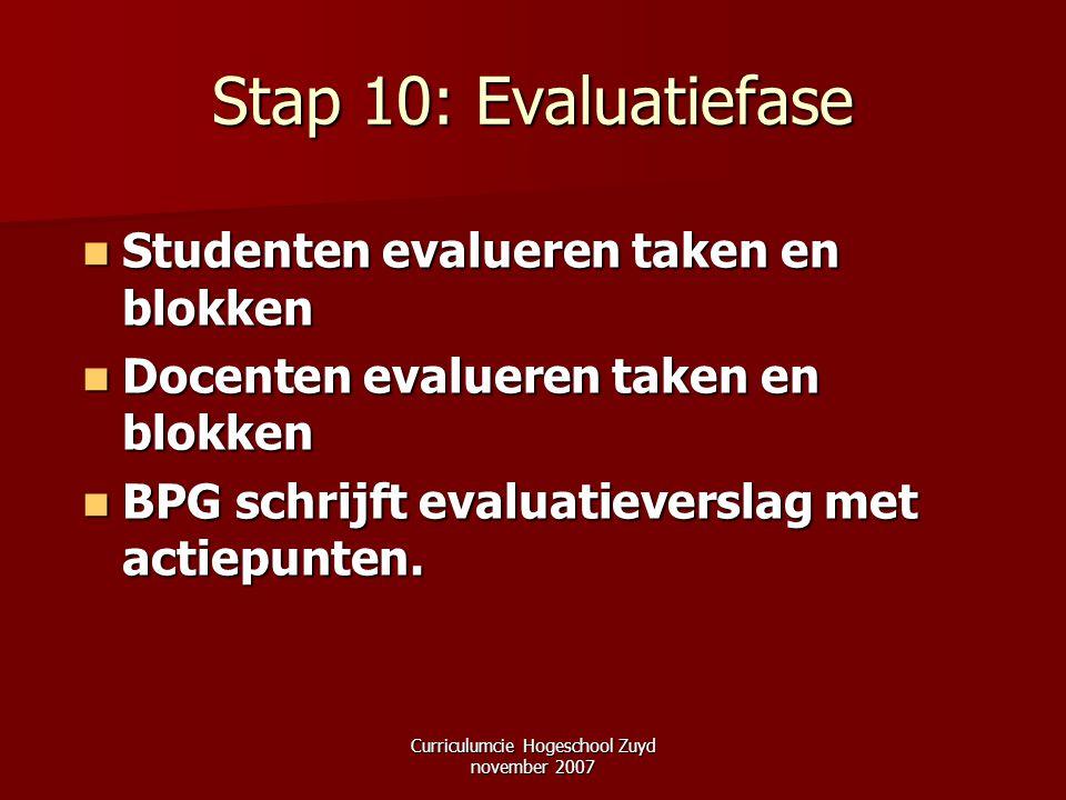 Curriculumcie Hogeschool Zuyd november 2007 Stap 10: Evaluatiefase Studenten evalueren taken en blokken Studenten evalueren taken en blokken Docenten