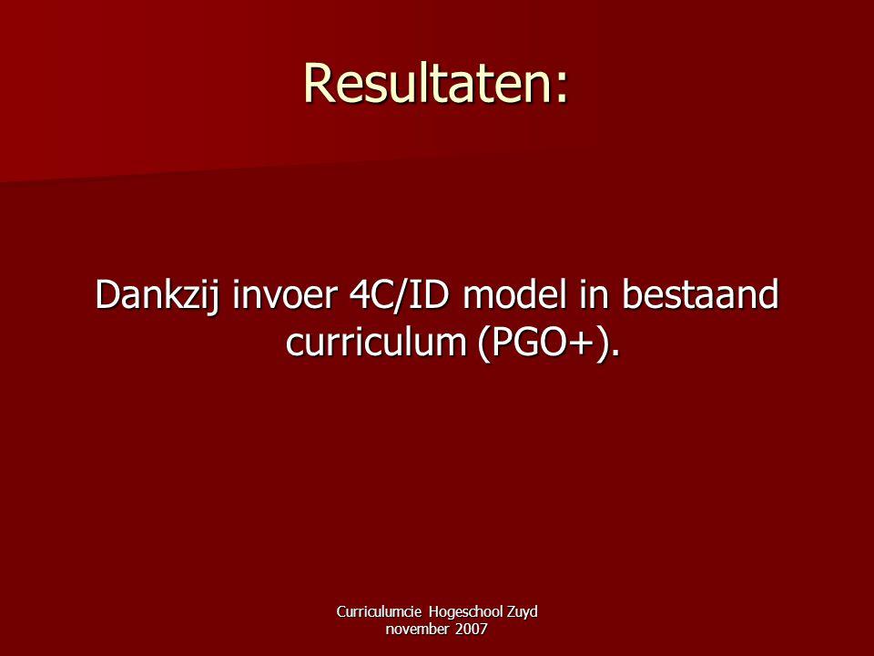 Curriculumcie Hogeschool Zuyd november 2007 Resultaten: Dankzij invoer 4C/ID model in bestaand curriculum (PGO+).