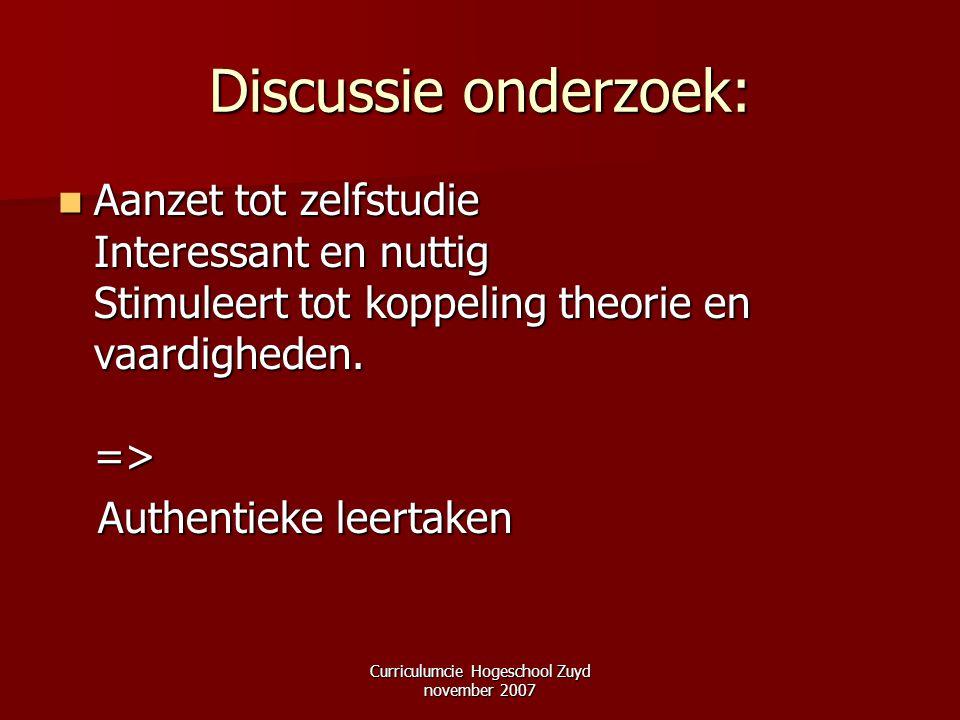 Curriculumcie Hogeschool Zuyd november 2007 Discussie onderzoek: Aanzet tot zelfstudie Interessant en nuttig Stimuleert tot koppeling theorie en vaard