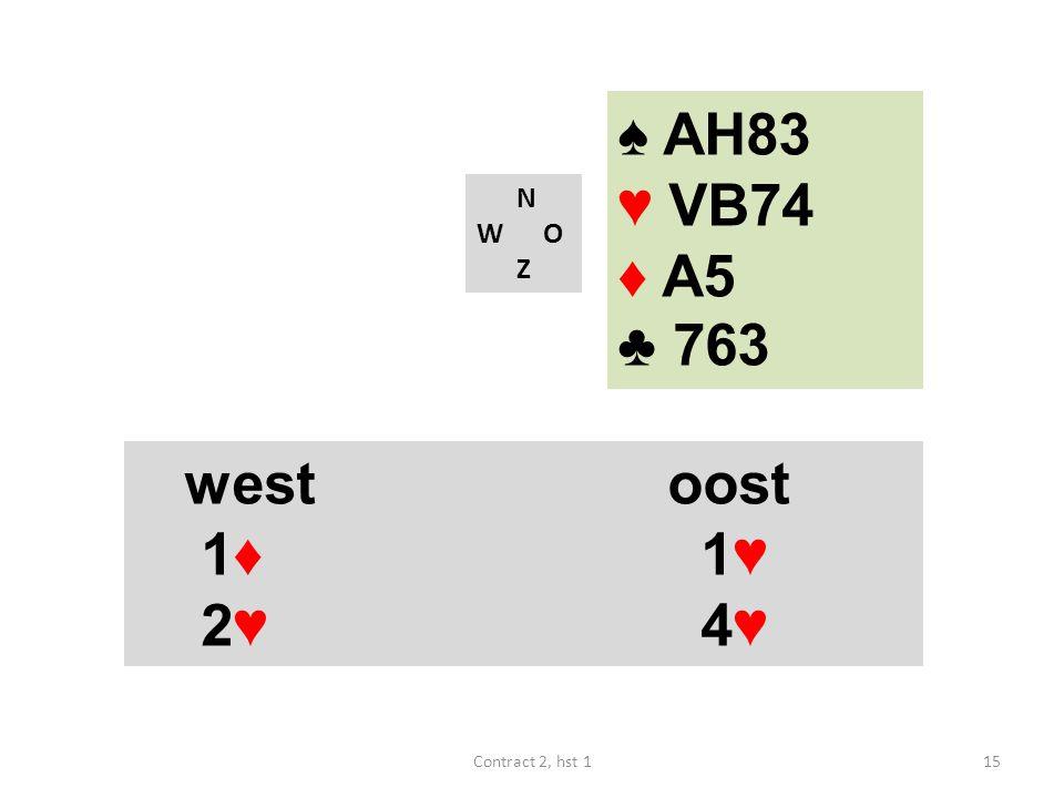 N W O Z westoost 1♦ 1♥ 2♥ 4♥ 15Contract 2, hst 1 ♠ AH83 ♥ VB74 ♦ A5 ♣ 763