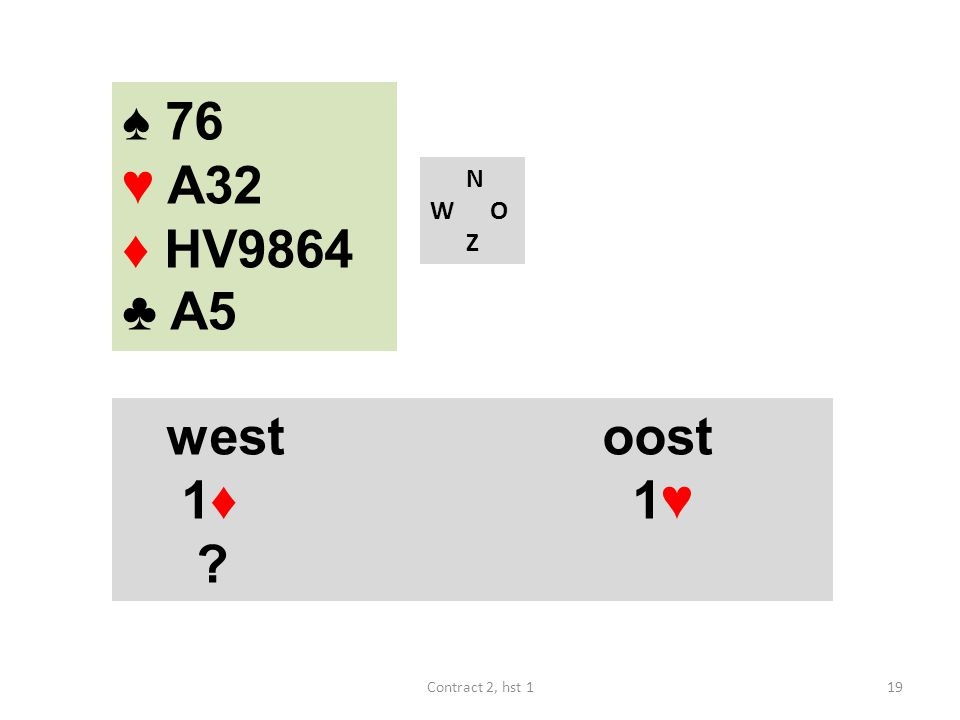 N W O Z westoost 1♦ 1♥ ? 19Contract 2, hst 1 ♠ 76 ♥ A32 ♦ HV9864 ♣ A5