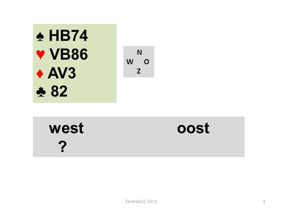 N W O Z west noord oost zuid 1♦ ? 23Contract 2, hst 1 ♠ A83 ♥ AV87 ♦ 965 ♣ B63