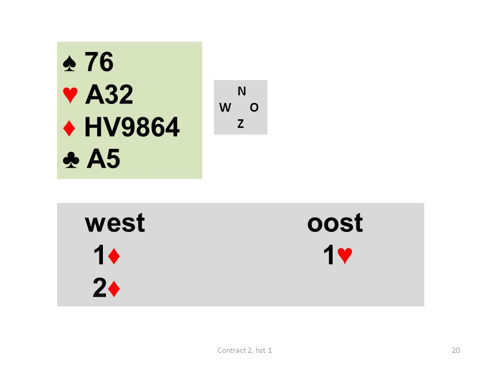 N W O Z westoost 1♦ 1♥ 2♦ 20Contract 2, hst 1 ♠ 76 ♥ A32 ♦ HV9864 ♣ A5