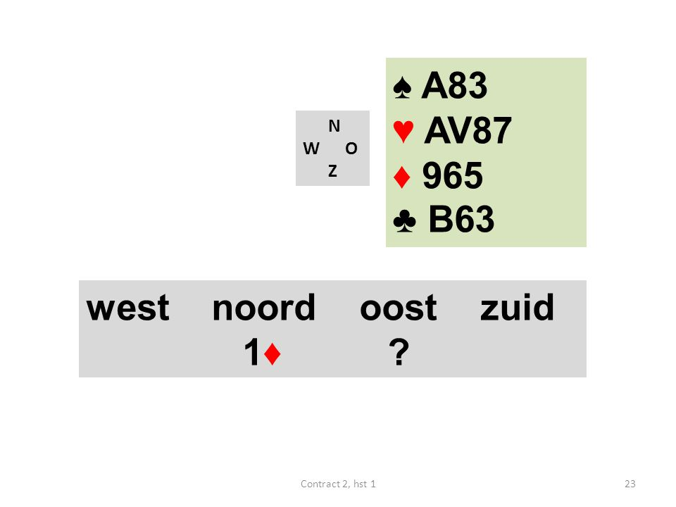 N W O Z west noord oost zuid 1♦ ? 23Contract 2, hst 1 ♠ A83 ♥ AV87 ♦ 965 ♣ B63