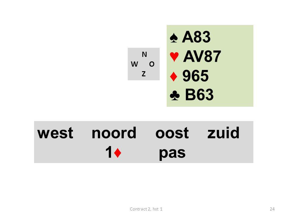 N W O Z west noord oost zuid 1♦ pas 24Contract 2, hst 1 ♠ A83 ♥ AV87 ♦ 965 ♣ B63