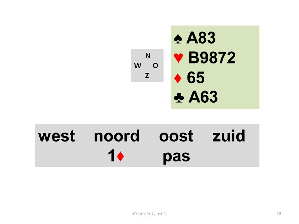 N W O Z west noord oost zuid 1♦ pas 26Contract 2, hst 1 ♠ A83 ♥ B9872 ♦ 65 ♣ A63