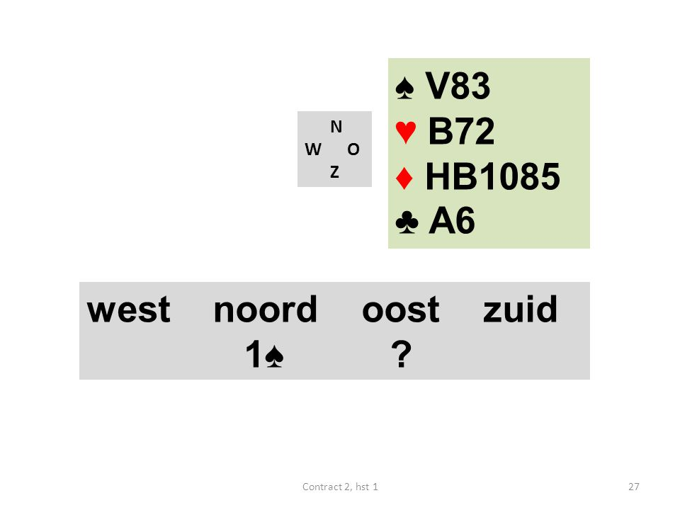 N W O Z west noord oost zuid 1♠ ? 27Contract 2, hst 1 ♠ V83 ♥ B72 ♦ HB1085 ♣ A6
