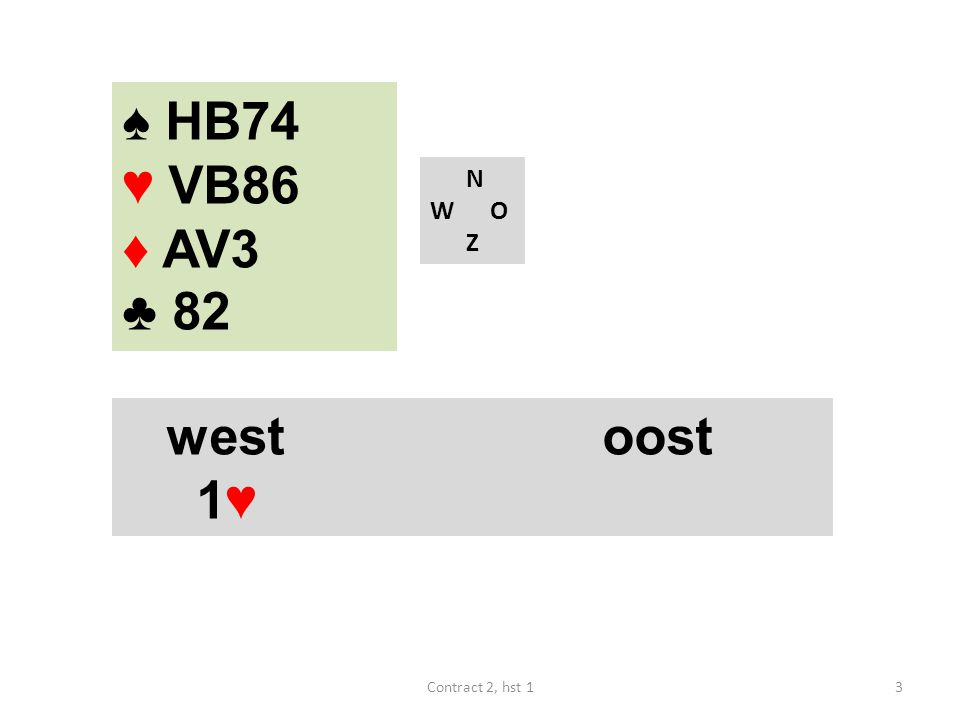 N W O Z west noord oost zuid 1♦ X 1♥ ? 44Contract 2, hst 1 ♠ H3 ♥ V972 ♦ B874 ♣ 654