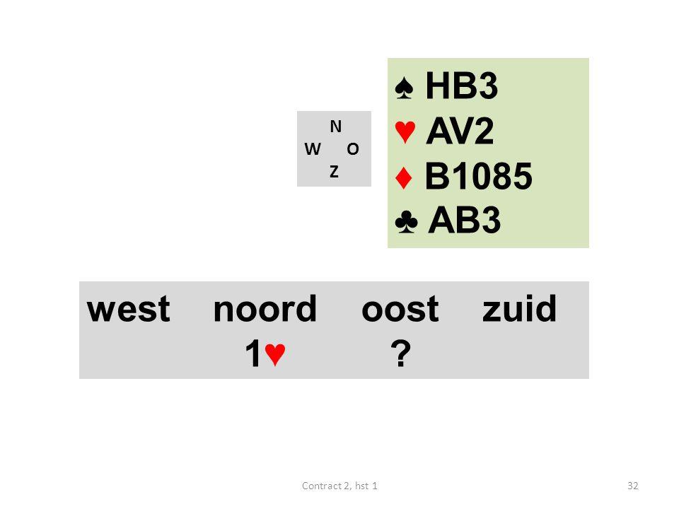 N W O Z west noord oost zuid 1♥ ? 32Contract 2, hst 1 ♠ HB3 ♥ AV2 ♦ B1085 ♣ AB3