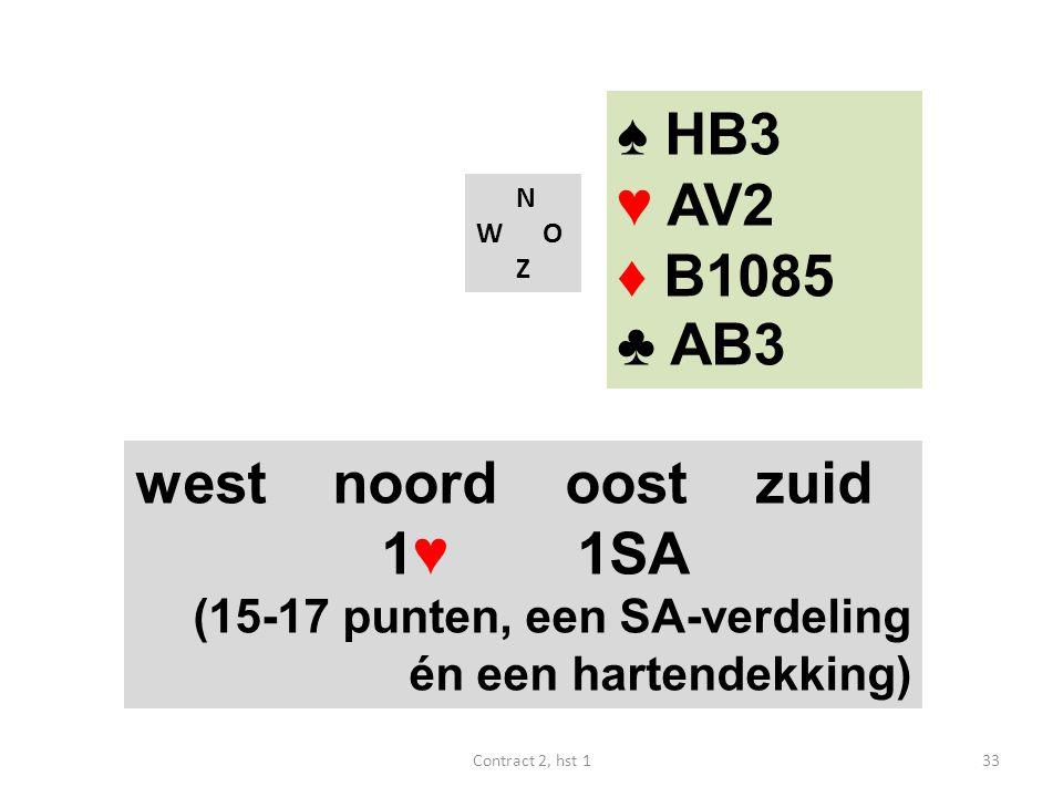 N W O Z west noord oost zuid 1♥ 1SA (15-17 punten, een SA-verdeling én een hartendekking) 33Contract 2, hst 1 ♠ HB3 ♥ AV2 ♦ B1085 ♣ AB3