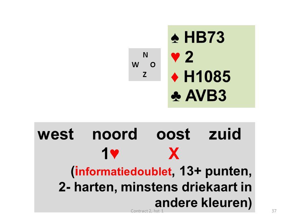 N W O Z west noord oost zuid 1♥ X (i nformatiedoublet, 13+ punten, 2- harten, minstens driekaart in andere kleuren) 37Contract 2, hst 1 ♠ HB73 ♥ 2 ♦ H1085 ♣ AVB3