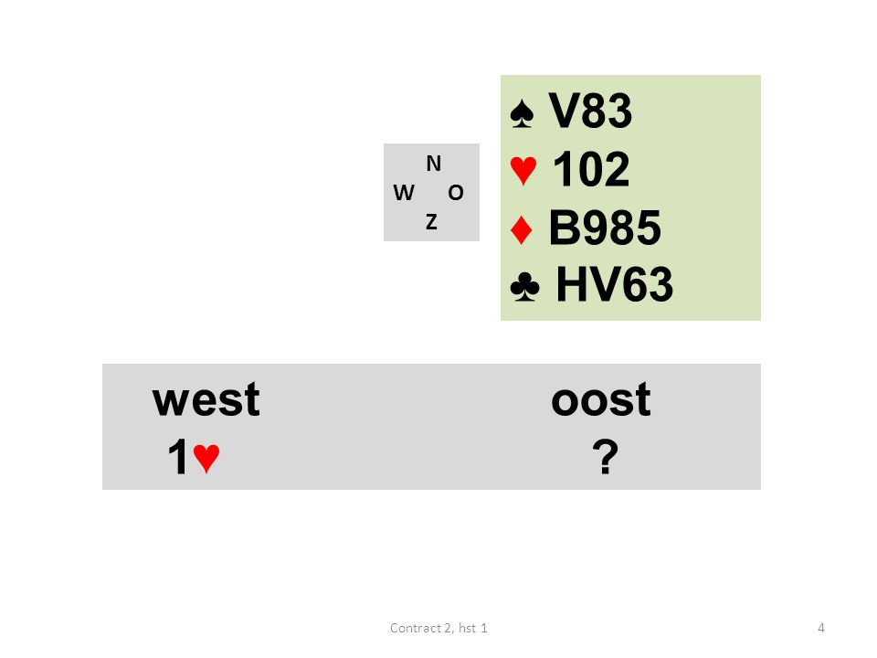 N W O Z west noord oost zuid 1♦ ? 25Contract 2, hst 1 ♠ A83 ♥ B9872 ♦ 65 ♣ A63
