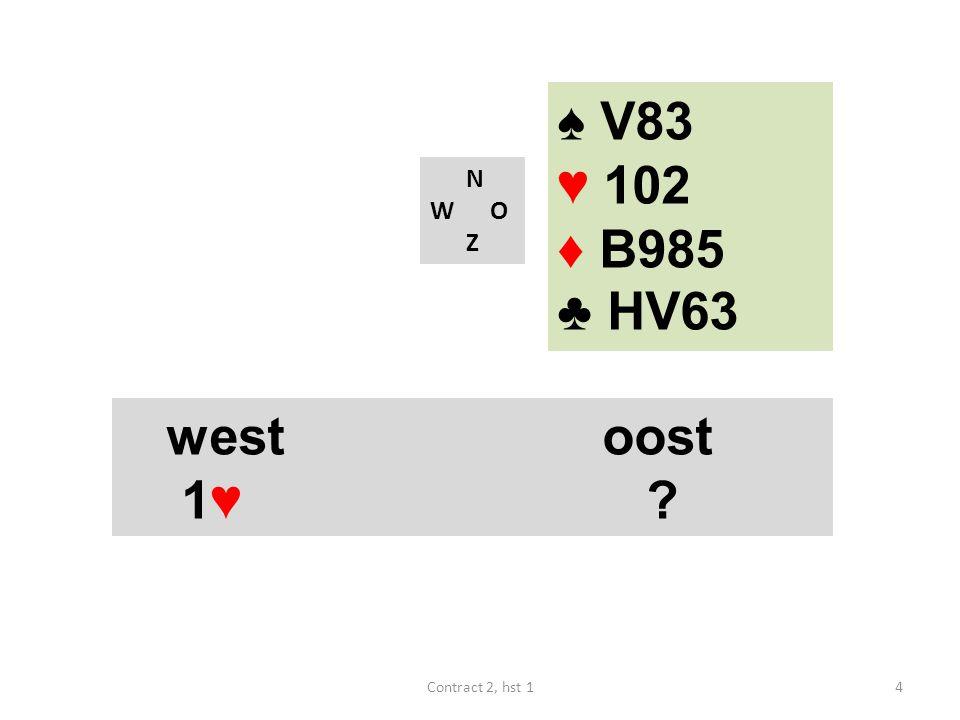 N W O Z westoost 1♥ ? 4Contract 2, hst 1 ♠ V83 ♥ 102 ♦ B985 ♣ HV63