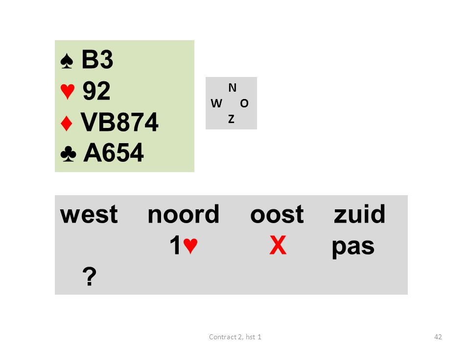 N W O Z west noord oost zuid 1♥ X pas ? 42Contract 2, hst 1 ♠ B3 ♥ 92 ♦ VB874 ♣ A654