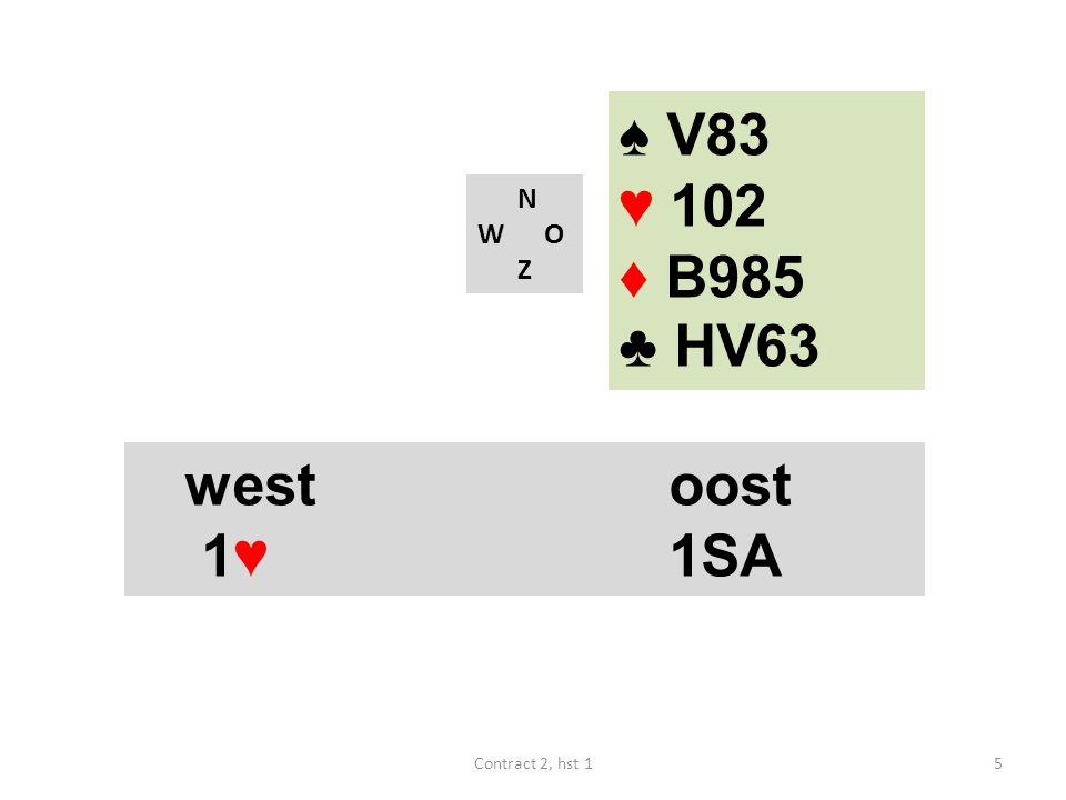 N W O Z westoost 1♥ 1SA 5Contract 2, hst 1 ♠ V83 ♥ 102 ♦ B985 ♣ HV63