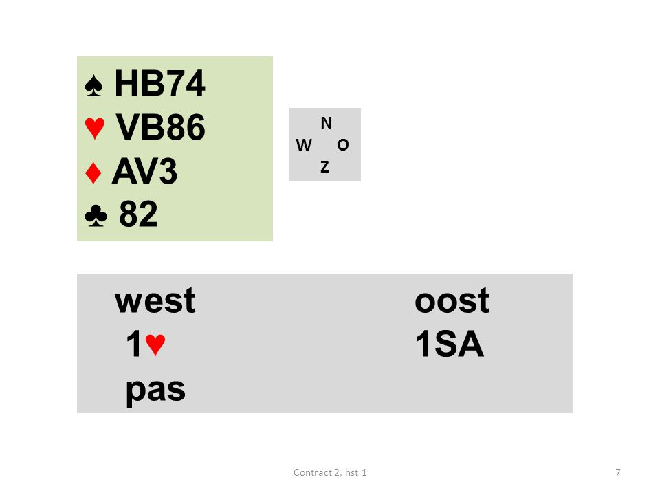 ♠ HB74 ♥ VB86 ♦ AV3 ♣ 82 N W O Z westoost 1♥ 1SA pas 7Contract 2, hst 1