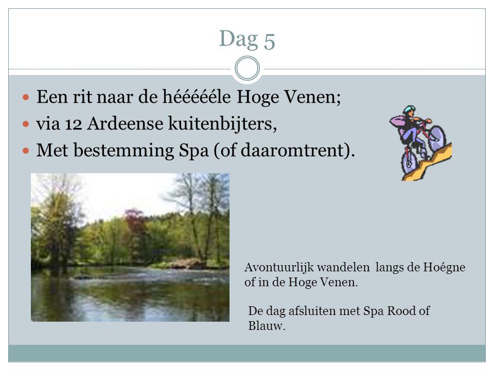 Dag 5 Een rit naar de héééééle Hoge Venen; via 12 Ardeense kuitenbijters, Met bestemming Spa (of daaromtrent). Avontuurlijk wandelen langs de Hoégne o