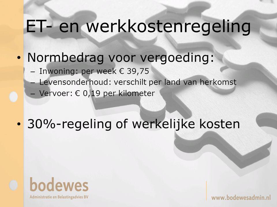 ET- en werkkostenregeling Normbedrag voor vergoeding: – Inwoning: per week € 39,75 – Levensonderhoud: verschilt per land van herkomst – Vervoer: € 0,1
