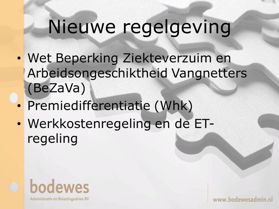 Nieuwe regelgeving Wet Beperking Ziekteverzuim en Arbeidsongeschiktheid Vangnetters (BeZaVa) Premiedifferentiatie (Whk) Werkkostenregeling en de ET- r