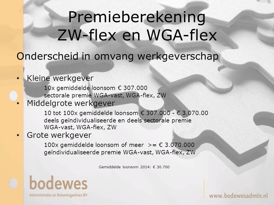 Premieberekening ZW-flex en WGA-flex Onderscheid in omvang werkgeverschap Kleine werkgever 10x gemiddelde loonsom € 307.000 sectorale premie WGA-vast,