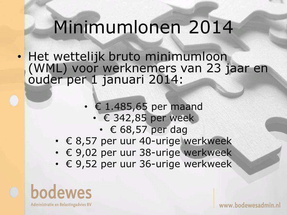 Minimumlonen 2014 Het wettelijk bruto minimumloon (WML) voor werknemers van 23 jaar en ouder per 1 januari 2014: € 1.485,65 per maand € 342,85 per wee