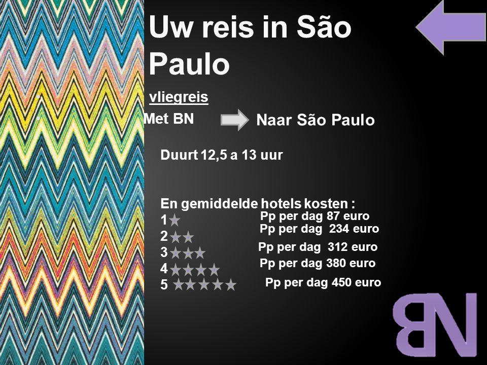 Uw reis in São Paulo vliegreis Met BN Naar São Paulo Duurt 12,5 a 13 uur En gemiddelde hotels kosten : 1 2 3 4 5 Pp per dag 87 euro Pp per dag 234 eur