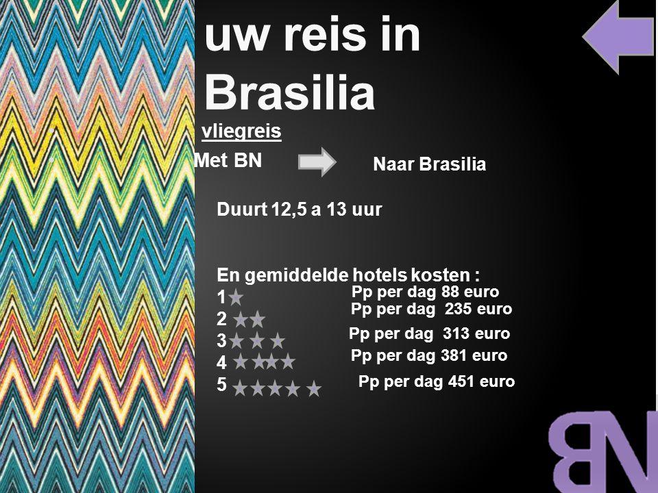 uw reis in Brasilia Duurt 12,5 a 13 uur En gemiddelde hotels kosten : 1 2 3 4 5 Pp per dag 451 euro Pp per dag 381 euro Pp per dag 313 euro Pp per dag