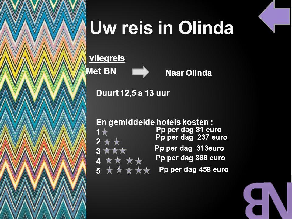 Uw reis in Olinda vliegreis Met BN Naar Olinda Duurt 12,5 a 13 uur En gemiddelde hotels kosten : 1 2 3 4 5,,,,,,,,,,, Pp per dag 81 euro Pp per dag 23