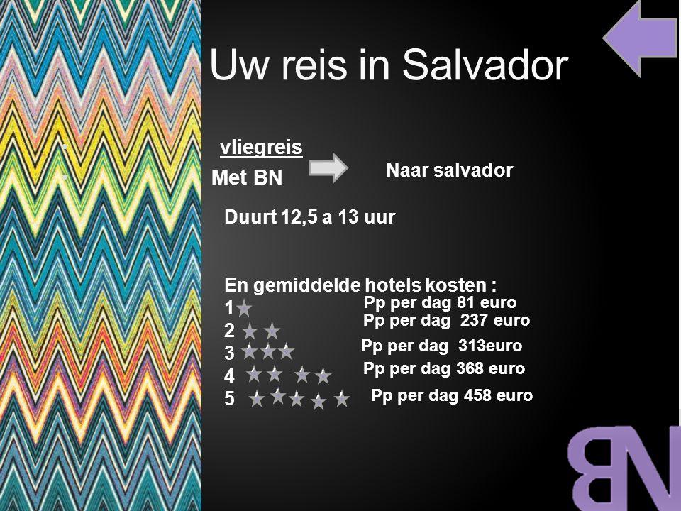Uw reis in Salvador vliegreis Met BN Naar salvador Duurt 12,5 a 13 uur En gemiddelde hotels kosten : 1 2 3 4 5 Pp per dag 81 euro Pp per dag 313euro P
