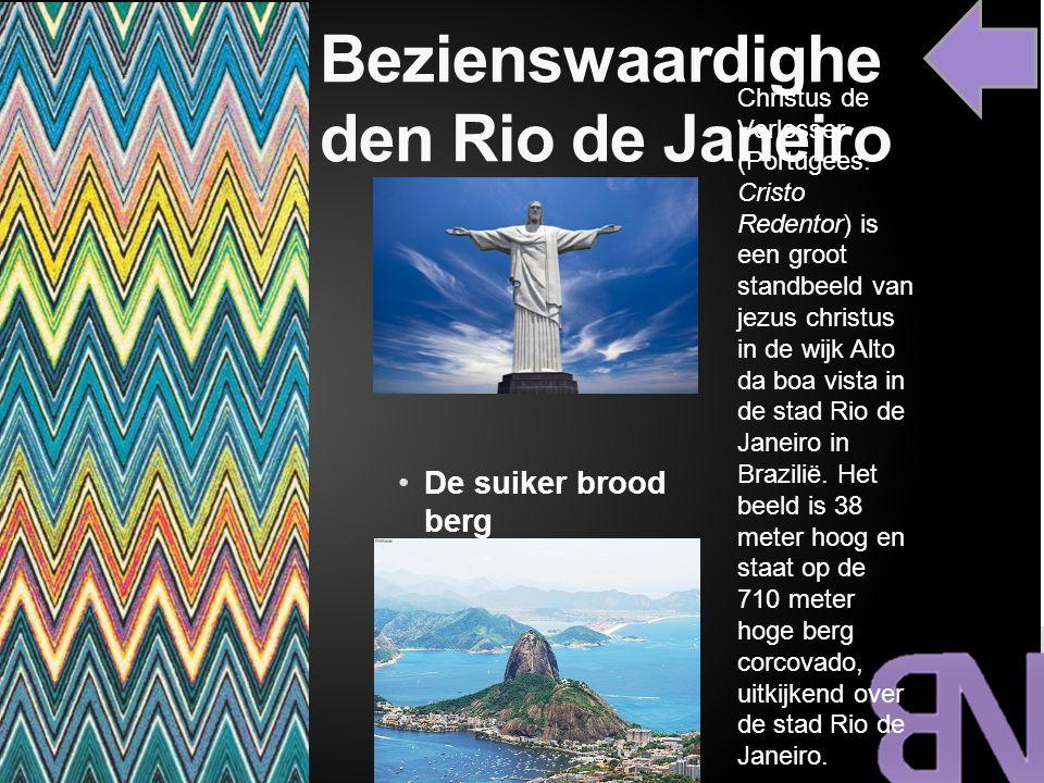 Bezienswaardighe den Rio de Janeiro De suiker brood berg Christus de Verlosser (Portugees: Cristo Redentor) is een groot standbeeld van jezus christus