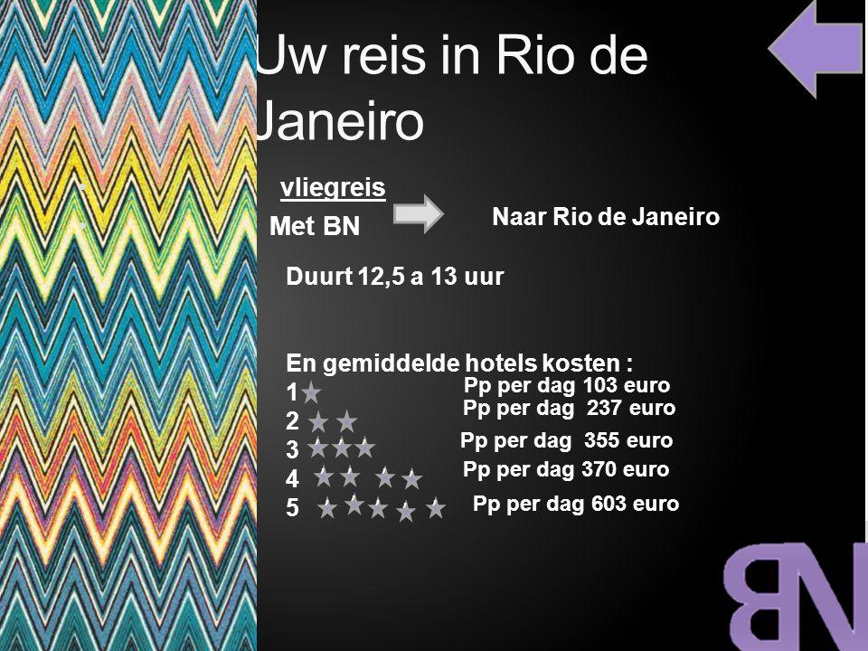 Uw reis in Rio de Janeiro vliegreis Met BN Naar Rio de Janeiro Duurt 12,5 a 13 uur En gemiddelde hotels kosten : 1 2 3 4 5 Pp per dag 103 euro Pp per