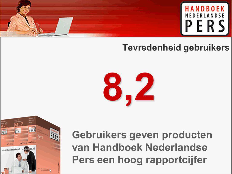 Tevredenheid gebruikers 8,2 Gebruikers geven producten van Handboek Nederlandse Pers een hoog rapportcijfer