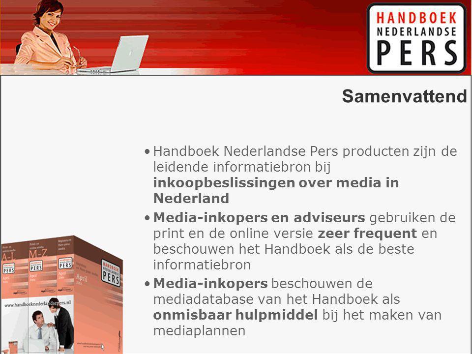 Samenvattend Handboek Nederlandse Pers producten zijn de leidende informatiebron bij inkoopbeslissingen over media in Nederland Media-inkopers en adviseurs gebruiken de print en de online versie zeer frequent en beschouwen het Handboek als de beste informatiebron Media-inkopers beschouwen de mediadatabase van het Handboek als onmisbaar hulpmiddel bij het maken van mediaplannen