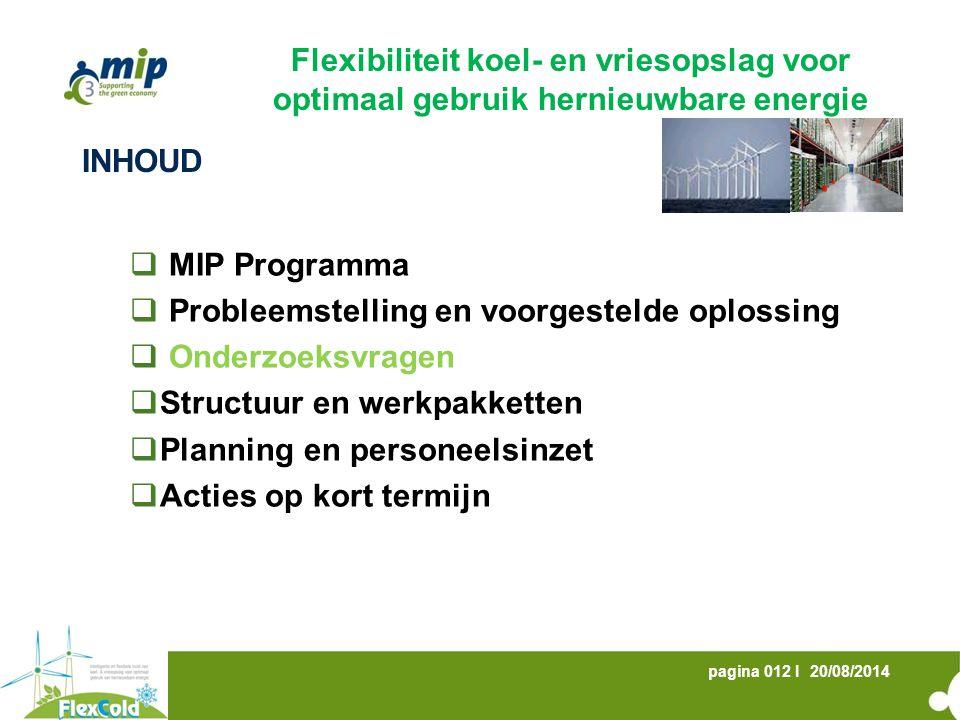 20/08/2014pagina 012 I INHOUD  MIP Programma  Probleemstelling en voorgestelde oplossing  Onderzoeksvragen  Structuur en werkpakketten  Planning