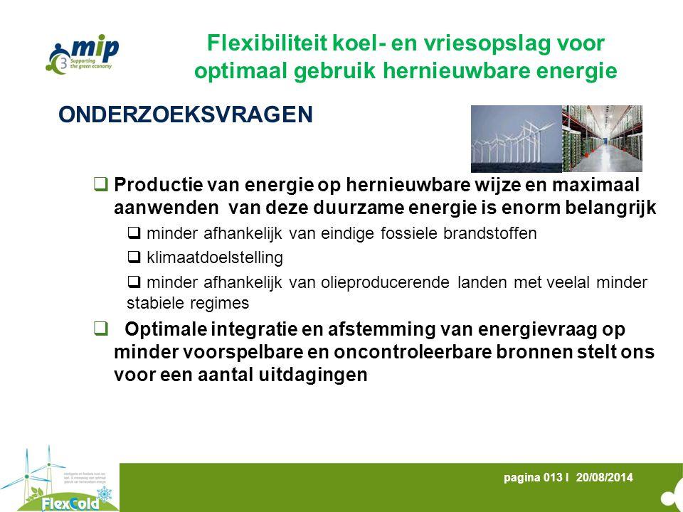 20/08/2014pagina 013 I ONDERZOEKSVRAGEN  Productie van energie op hernieuwbare wijze en maximaal aanwenden van deze duurzame energie is enorm belangr