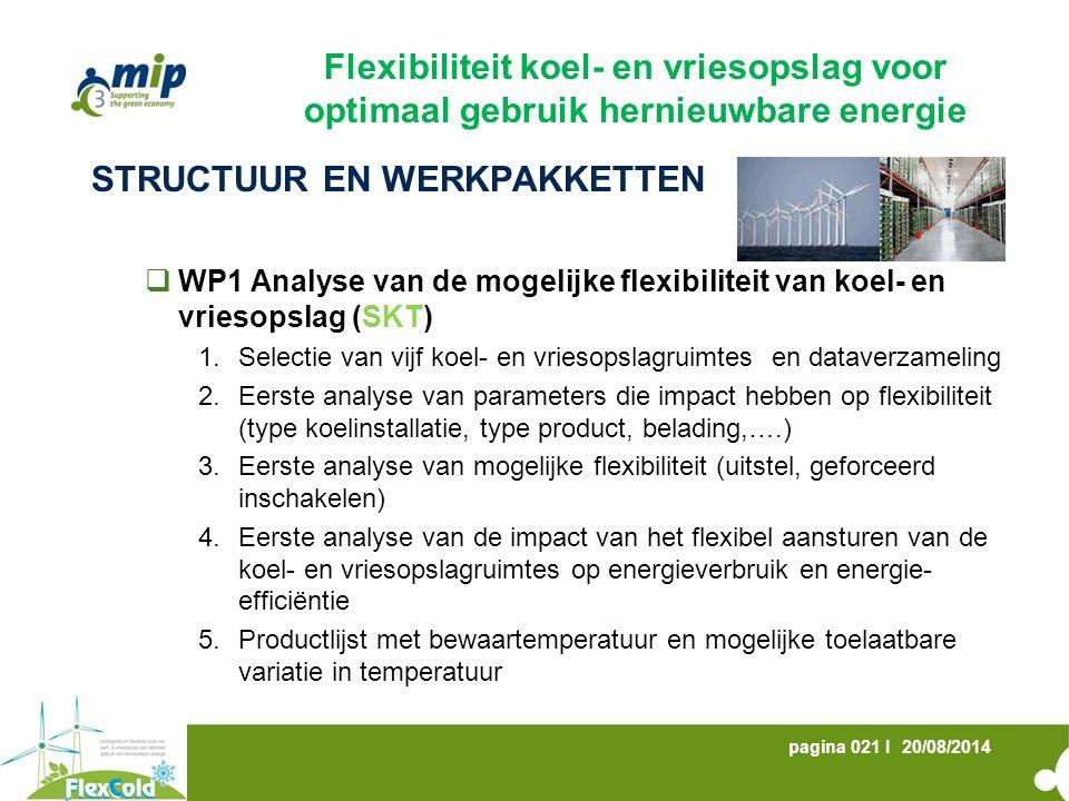 20/08/2014pagina 021 I STRUCTUUR EN WERKPAKKETTEN  WP1 Analyse van de mogelijke flexibiliteit van koel- en vriesopslag (SKT) 1.Selectie van vijf koel