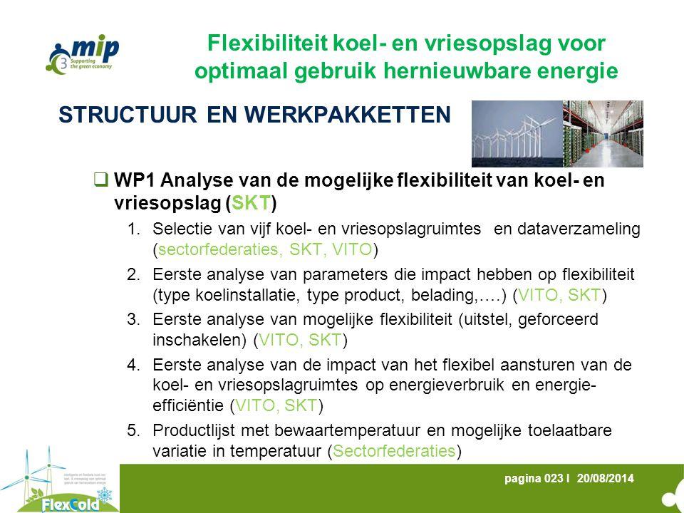 20/08/2014pagina 023 I STRUCTUUR EN WERKPAKKETTEN  WP1 Analyse van de mogelijke flexibiliteit van koel- en vriesopslag (SKT) 1.Selectie van vijf koel- en vriesopslagruimtes en dataverzameling (sectorfederaties, SKT, VITO) 2.Eerste analyse van parameters die impact hebben op flexibiliteit (type koelinstallatie, type product, belading,….) (VITO, SKT) 3.Eerste analyse van mogelijke flexibiliteit (uitstel, geforceerd inschakelen) (VITO, SKT) 4.Eerste analyse van de impact van het flexibel aansturen van de koel- en vriesopslagruimtes op energieverbruik en energie- efficiëntie (VITO, SKT) 5.Productlijst met bewaartemperatuur en mogelijke toelaatbare variatie in temperatuur (Sectorfederaties) Flexibiliteit koel- en vriesopslag voor optimaal gebruik hernieuwbare energie
