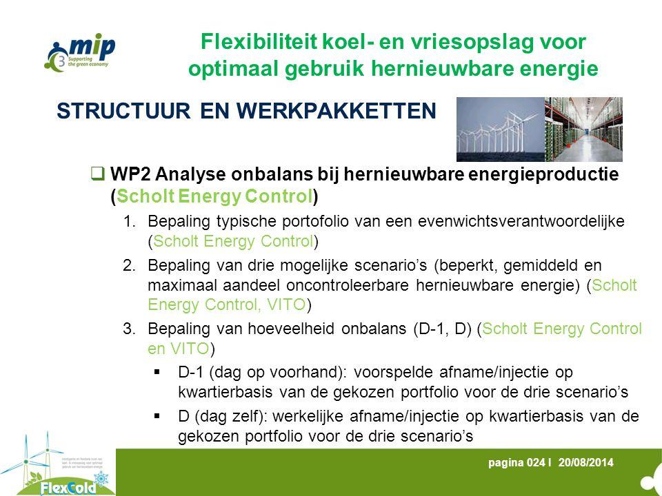 20/08/2014pagina 024 I STRUCTUUR EN WERKPAKKETTEN  WP2 Analyse onbalans bij hernieuwbare energieproductie (Scholt Energy Control) 1.Bepaling typische portofolio van een evenwichtsverantwoordelijke (Scholt Energy Control) 2.Bepaling van drie mogelijke scenario's (beperkt, gemiddeld en maximaal aandeel oncontroleerbare hernieuwbare energie) (Scholt Energy Control, VITO) 3.Bepaling van hoeveelheid onbalans (D-1, D) (Scholt Energy Control en VITO)  D-1 (dag op voorhand): voorspelde afname/injectie op kwartierbasis van de gekozen portfolio voor de drie scenario's  D (dag zelf): werkelijke afname/injectie op kwartierbasis van de gekozen portfolio voor de drie scenario's Flexibiliteit koel- en vriesopslag voor optimaal gebruik hernieuwbare energie