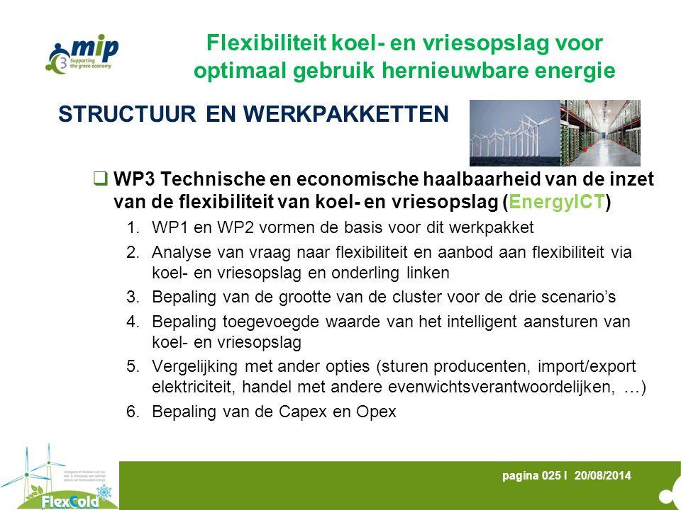 20/08/2014pagina 025 I STRUCTUUR EN WERKPAKKETTEN  WP3 Technische en economische haalbaarheid van de inzet van de flexibiliteit van koel- en vriesopslag (EnergyICT) 1.WP1 en WP2 vormen de basis voor dit werkpakket 2.Analyse van vraag naar flexibiliteit en aanbod aan flexibiliteit via koel- en vriesopslag en onderling linken 3.Bepaling van de grootte van de cluster voor de drie scenario's 4.Bepaling toegevoegde waarde van het intelligent aansturen van koel- en vriesopslag 5.Vergelijking met ander opties (sturen producenten, import/export elektriciteit, handel met andere evenwichtsverantwoordelijken, …) 6.Bepaling van de Capex en Opex Flexibiliteit koel- en vriesopslag voor optimaal gebruik hernieuwbare energie