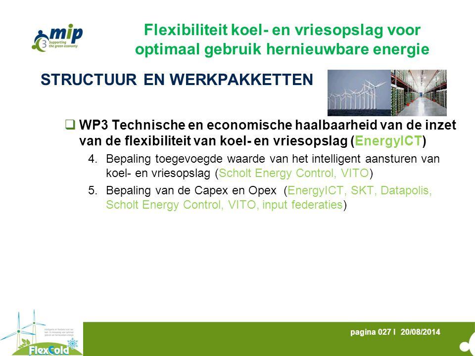 20/08/2014pagina 027 I STRUCTUUR EN WERKPAKKETTEN  WP3 Technische en economische haalbaarheid van de inzet van de flexibiliteit van koel- en vriesopslag (EnergyICT) 4.Bepaling toegevoegde waarde van het intelligent aansturen van koel- en vriesopslag (Scholt Energy Control, VITO) 5.Bepaling van de Capex en Opex (EnergyICT, SKT, Datapolis, Scholt Energy Control, VITO, input federaties) Flexibiliteit koel- en vriesopslag voor optimaal gebruik hernieuwbare energie