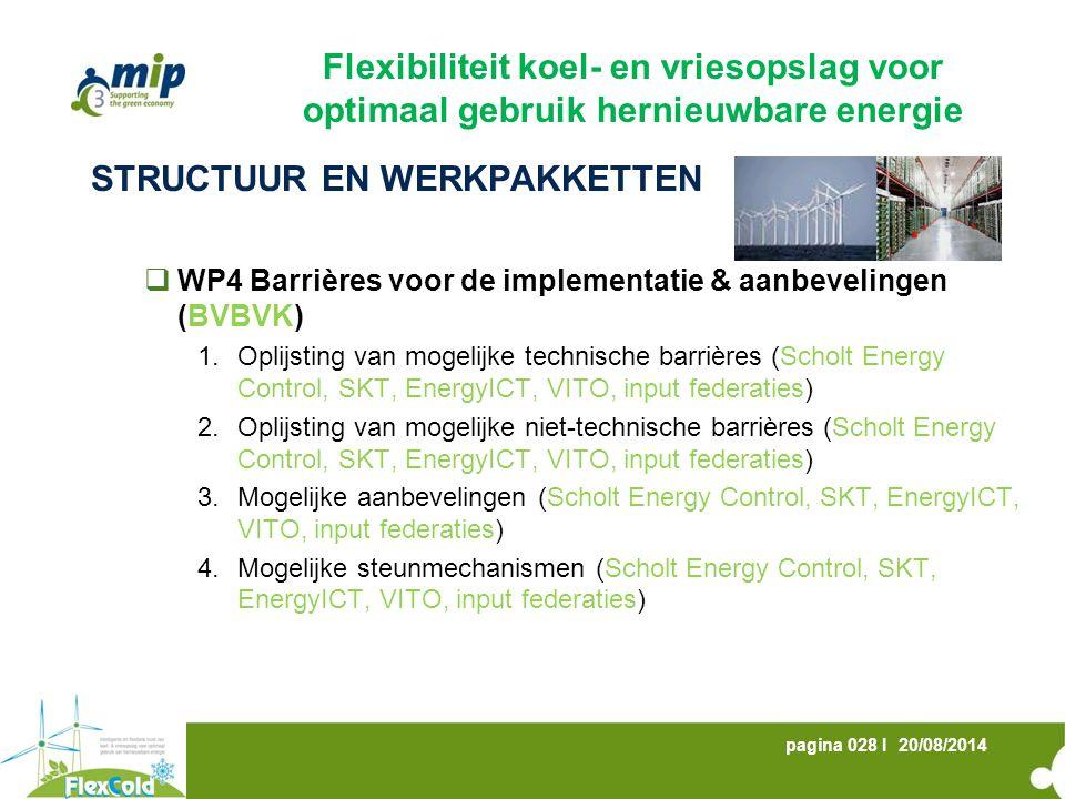 20/08/2014pagina 028 I STRUCTUUR EN WERKPAKKETTEN  WP4 Barrières voor de implementatie & aanbevelingen (BVBVK) 1.Oplijsting van mogelijke technische barrières (Scholt Energy Control, SKT, EnergyICT, VITO, input federaties) 2.Oplijsting van mogelijke niet-technische barrières (Scholt Energy Control, SKT, EnergyICT, VITO, input federaties) 3.Mogelijke aanbevelingen (Scholt Energy Control, SKT, EnergyICT, VITO, input federaties) 4.Mogelijke steunmechanismen (Scholt Energy Control, SKT, EnergyICT, VITO, input federaties) Flexibiliteit koel- en vriesopslag voor optimaal gebruik hernieuwbare energie