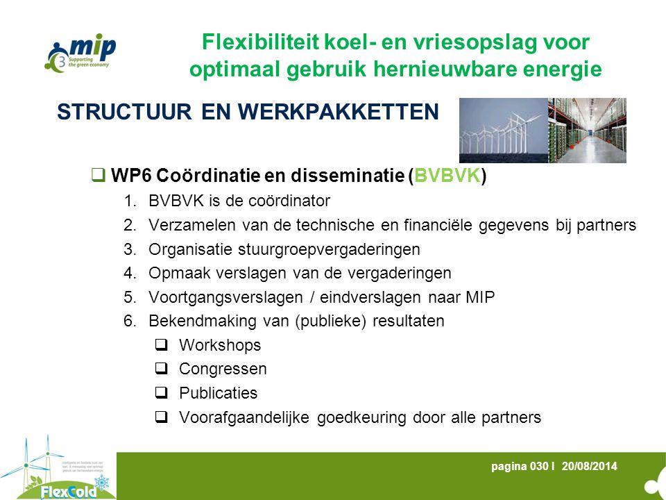 20/08/2014pagina 030 I STRUCTUUR EN WERKPAKKETTEN  WP6 Coördinatie en disseminatie (BVBVK) 1.BVBVK is de coördinator 2.Verzamelen van de technische e